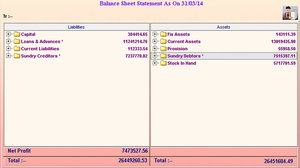 Automobile Spare Parts Distributors - Balance Sheet