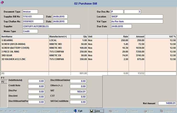 Automobile Spare Parts Billing Software Amatmotor Co